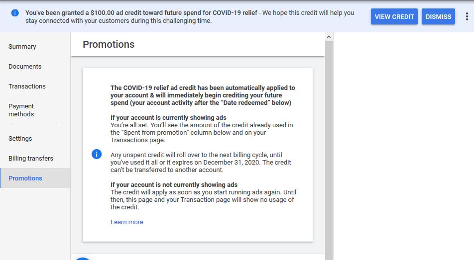 Google COVI-19 Credit